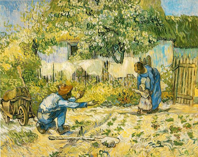 This wonderful painting is a copy made by Van Gogh from a painting by Jean-François Millet. (See here: http://www.reproduction-tableau-art.com/).