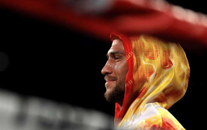 Download wallpapers Vasyl Lomachenko, 4k, Ukrainian boxer, Olympic champion, portrait, Ukraine, boxing ring, ropes