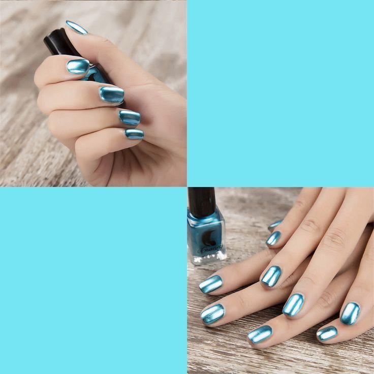6 Colors Gorgeous Metallic Mirror Effect Nail Art Polish Varnish Top Coat Metal 6ml