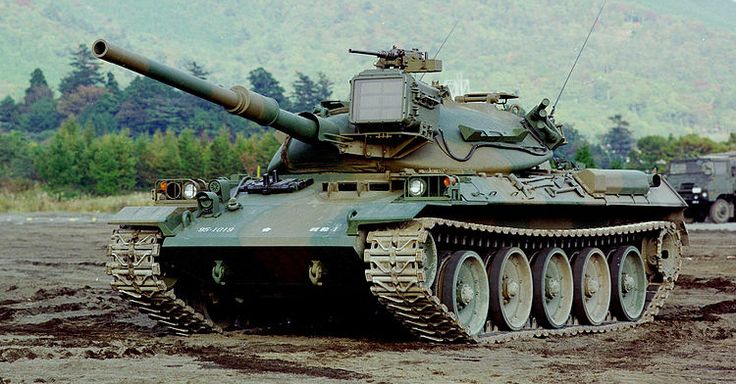 The Type 74 Main Battle Tank was Japan's second generation of MBTs, also built by Mitsubishi and maintained into service well after the end of the cold war