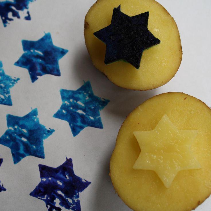 Razítka z brambor, Potatoes stamps - vytvořené pomocí vykrajovátek. Razítka a tiskátka. Jak vyrobit tiskátka.