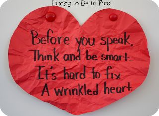 Great lesson to show kids how their words and actions have last effects!