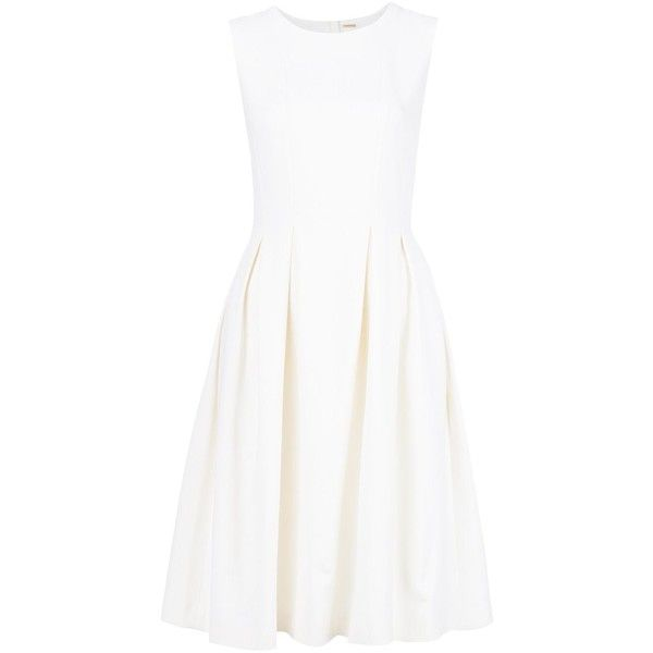 Adam Lippes Pleated Sleeveless Dress ($1,390) ❤ liked on Polyvore featuring dresses, white, pleated dresses, adam, sleeveless pleated dress, no sleeve dress and adam dress