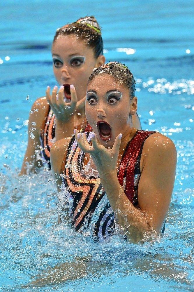 Greece's Evangelia Platanioti and Despoina Solomou, Synchronized Swimming, London Olympics 2012