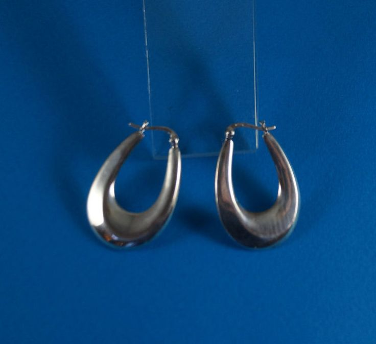 Modernist Oval Sterling Silver Hoop Earrings, Nest & Company by shopnestandcompany on Etsy