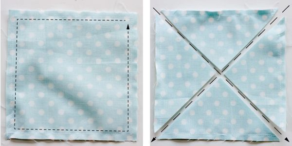 half square triangles from two squares. Sew around the outside and cut on the diagonals. This is my favorite method!