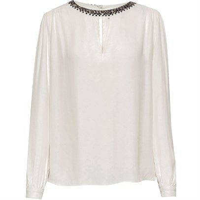Ozsale - Hand Embellished Collar Blouse Cream by Great Plains. Simple but so chic! Price was $108 and is now $39.