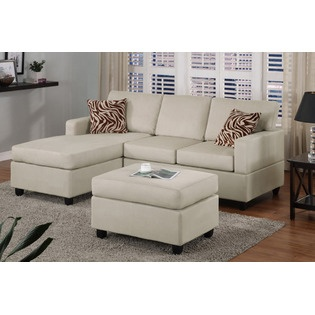 hollywood decor mushroom white finish sectional couch with free matching ottoman and accent. Black Bedroom Furniture Sets. Home Design Ideas