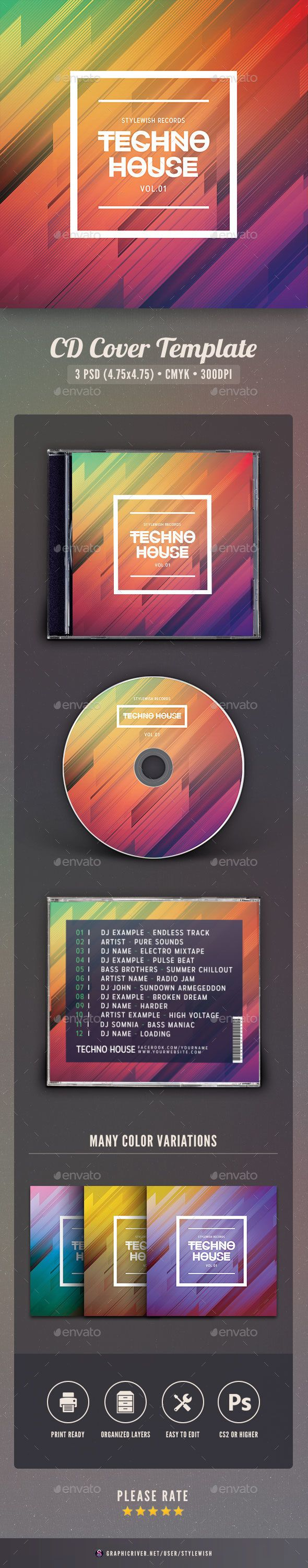 Techno House CD Cover Artwork - CD & DVD Artwork Print Templates