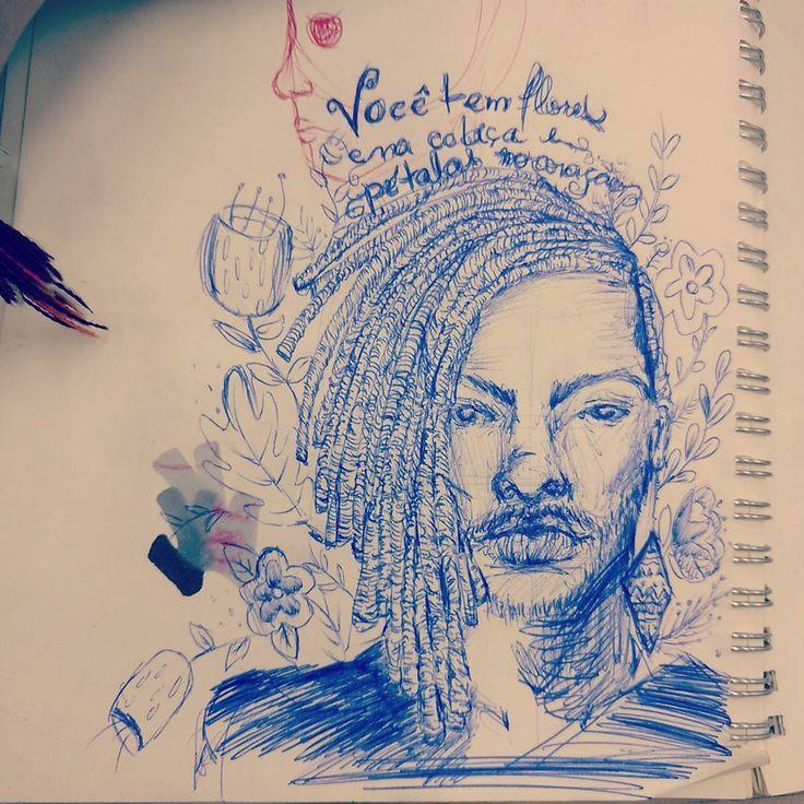 Flores na cabeça e pétalas no ❤ #sketchbook #rabisco #liniker #canetabic instagram.com/kelcerruti