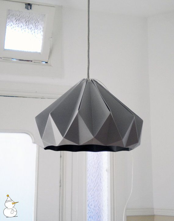 Chestnut Paper Origami Lampshade, Grey, by Studio Snowpuppe - modern - lamp  shades - Etsy