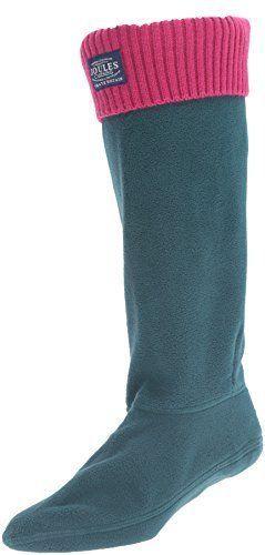 Joules Women's Hilston Rain Boot Sock, Dark Green, 9 M Us