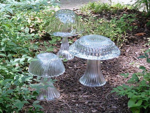 Garden art crystal mushrooms made with re-purposed vases and bowls.