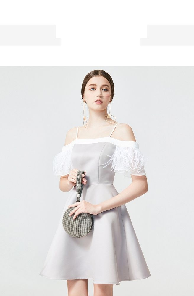 b9bc60603b63 Bene Luxury gray feather sleeve cuff off shoulder strapless cocktail dress   fashion  clothing  shoes  accessories  womensclothing  dresses (ebay link)