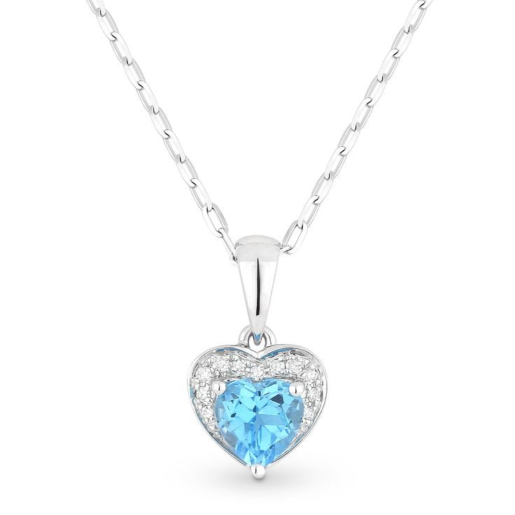 0.61ct Heart-Shaped Blue Topaz & Round Diamond Heart Charm Pendant & Chain Necklace in 14k White Gold - AlfredAndVincent.com