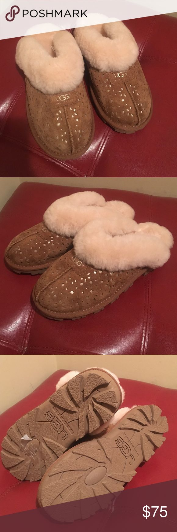 Ugg Coquette slippers Authentic Ugg Coquette slippers. Color (Chestnut). Women size 8. Price is FIRM.        📪 Same/Next day Shipping 💔 Pay Pal 💔 Trades 🚫 No Haggling  🐶 Free home 🚬 Free home Please do not negotiate price in the comments area as I will NOT respond.  Thanks for checking out my closet  🍭SweetLady🍬 UGG Shoes Slippers