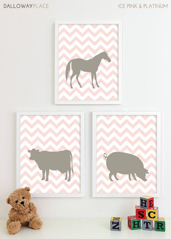 Farm Animal Nursery Art Prints Horse Chevron by DallowayPlaceKids