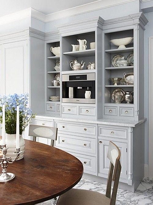 Kitchen Breakfast Room Coffee Area With Miele Machine Built In Cabinets Painted Blue Gray By Sarah Richardson