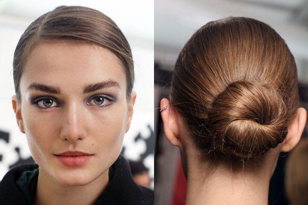 Diane von Furstenberg Fall 2012 sleek side-part bun hairstyle | allure.com