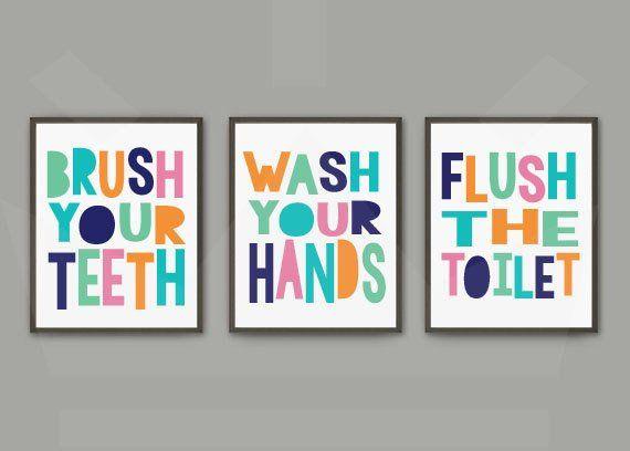 Geschlecht Neutral Kinder Badezimmer Print Set | Brush Wash Flush | Drei Drucksatz | Di ...
