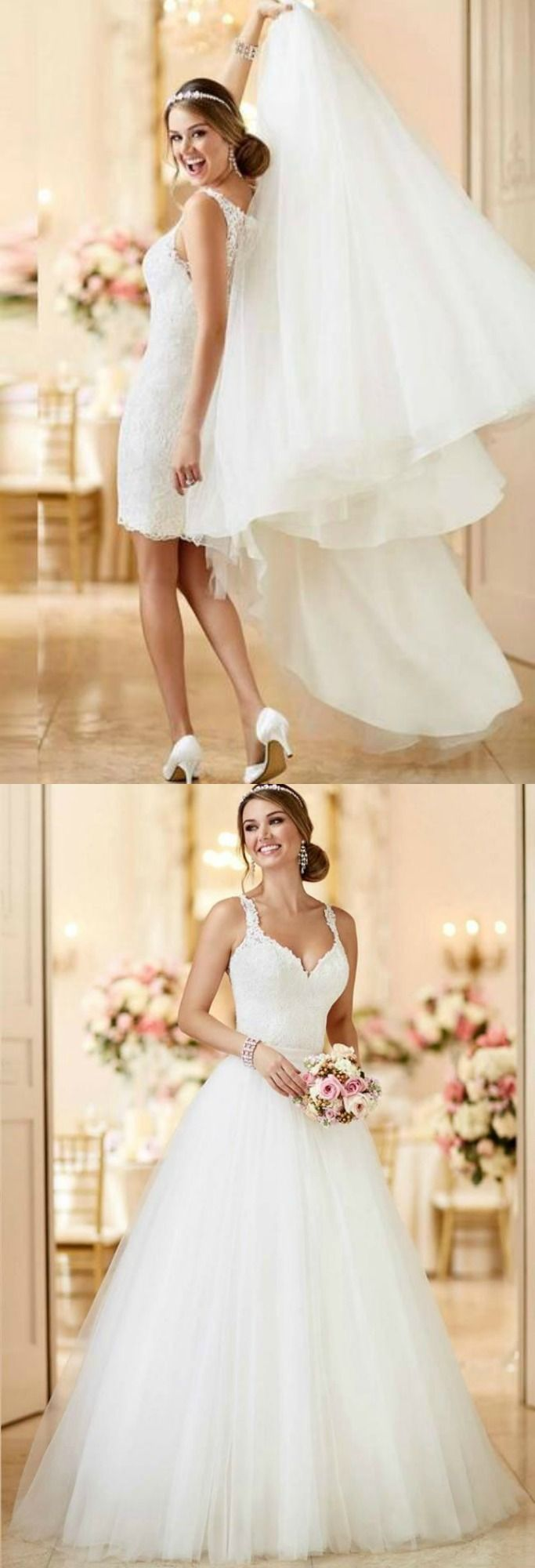 Adeline Grace. Detachable Skirt Wedding Dress. The best of both worlds is exactly what you get in the gorgeous Adeline Grace Wedding Gown!  This awe inspiring dress features a sweetheart neckline covered in lace and an empire waist to hug those curves. TheChicFind.com