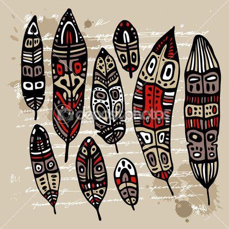 Этнические перо набор — стоковая иллюстрация #13915788