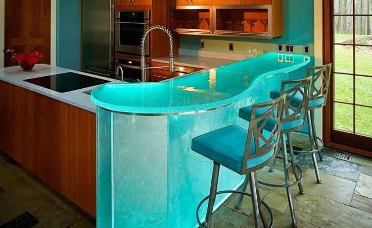 Glass Counter Top For Bar With Led Lighting At 42 Inches
