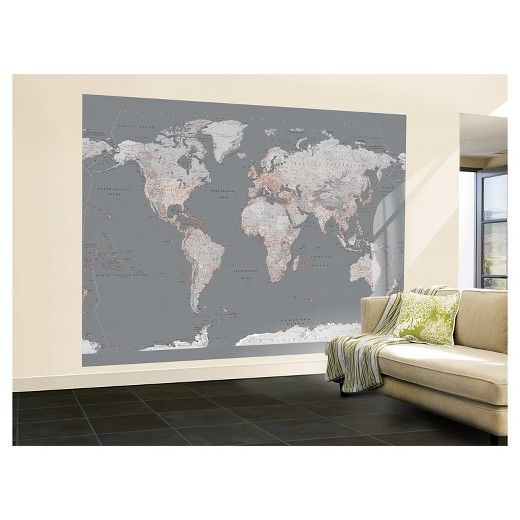 The 25 best grey wallpaper target ideas on pinterest nautical art wallpaper mural contemporary grey world map gumiabroncs Image collections
