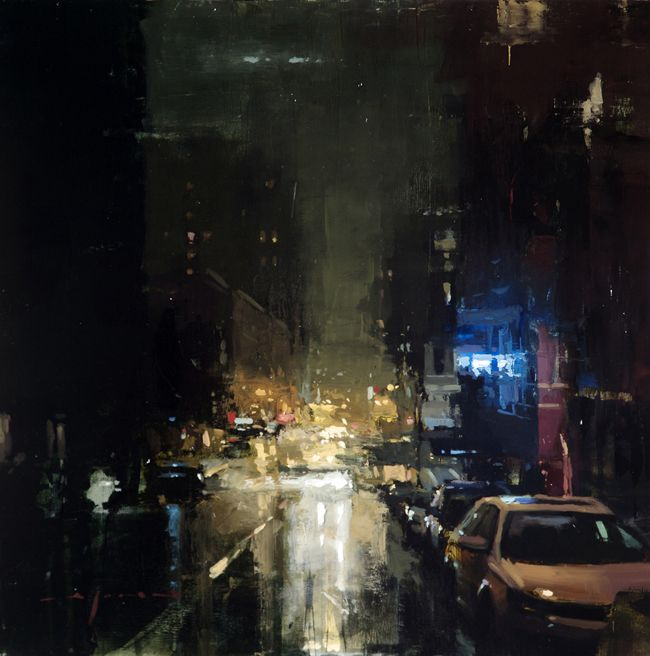 """JEREMY MANN, American (b. 1979)   graduated from Ohio University with a Cum Laude degree in Fine Art-Painting. """"Nocturne and Rain from Bar to Bar"""" 12×12"""