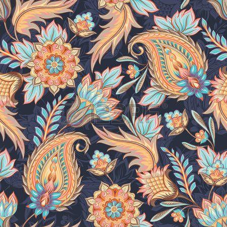 Бесшовный: Традиционный восточный пейсли узор. Бесшовные фон старинные цветы. Декоративные фон украшение для ткани, текстиль, оберточная бумага, открытки, приглашения, обои, веб-дизайн. Иллюстрация