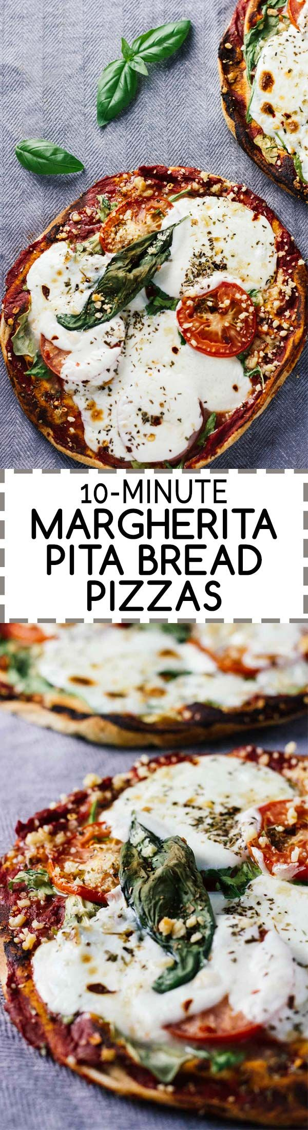 10-Minute Margherita Pita Bread Pizzas! Healthy, delicious, and easy to make!