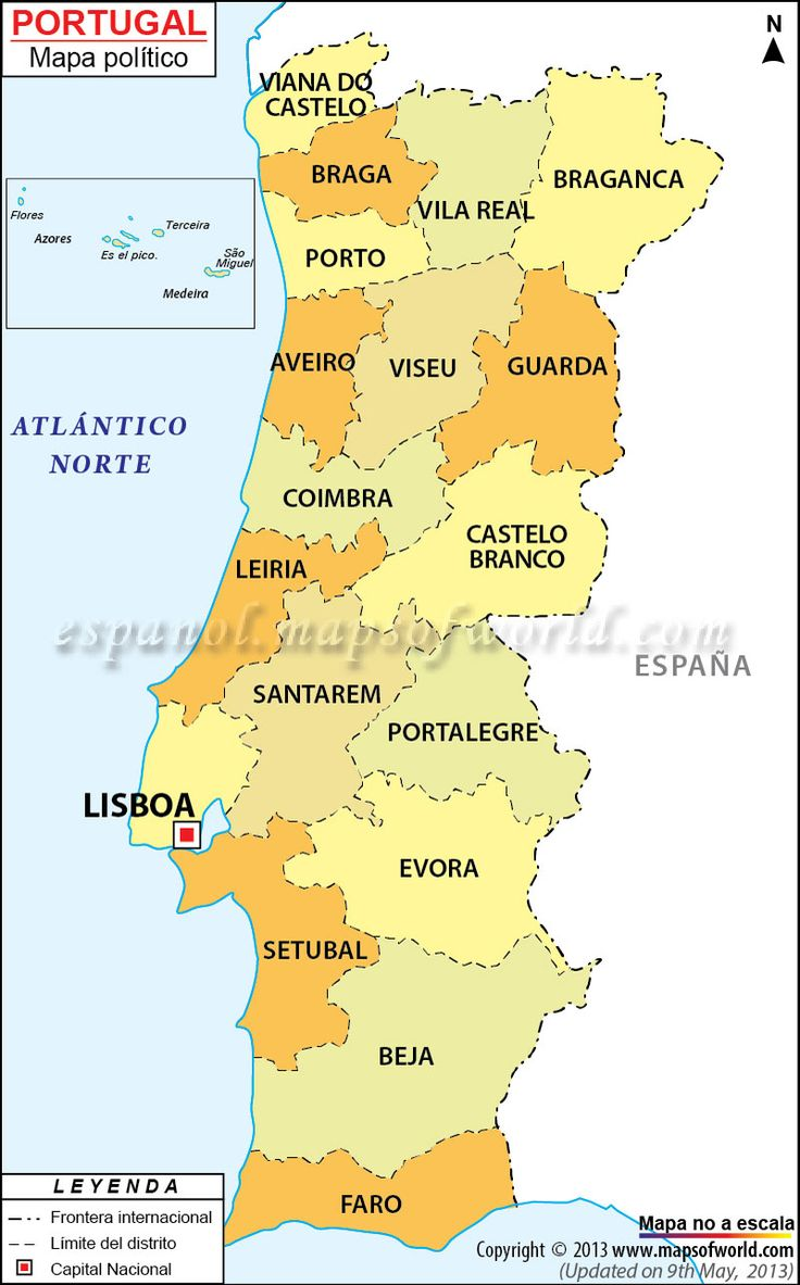 Portugal ha inscrito su nombre como miembro de la Unión Europea y también de las Naciones Unidas. También cuenta con miembros de la eurozona, la OTAN y la OCDE. Portugal se encuentra compartiendo frontera con España, y el resto de sus fronteras son sobre el océano Atlántico. Portugal también incluye las islas de Azores en medio del océano Atlántico, así como las islas de Madeira. Portugal tiene dieciocho distritos: