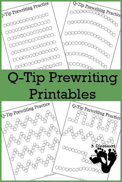 Free Q-Tip Prewriting Printables