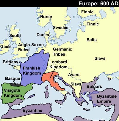 Map of Europe 600 AD