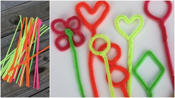 Bubble wands:  Pipe cleaners, kitchen spatula, 2 straws connected by string, and hula hoop in baby pool - all make great bubble wands.