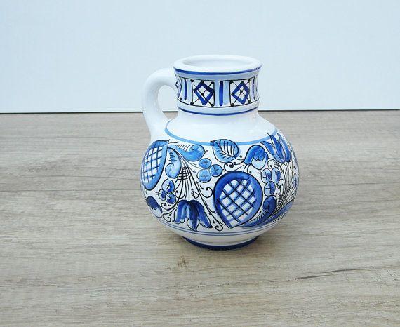 Little Jar Little Vase with blue Flower motives. by HabanCeramic, $25.00