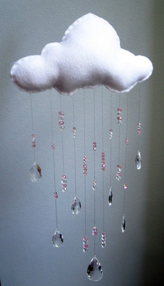 Beautiful PINK crystal raindrop cloud baby mobile!!!  Modern nursery decor.  TheWhiteBirchTree on Etsy