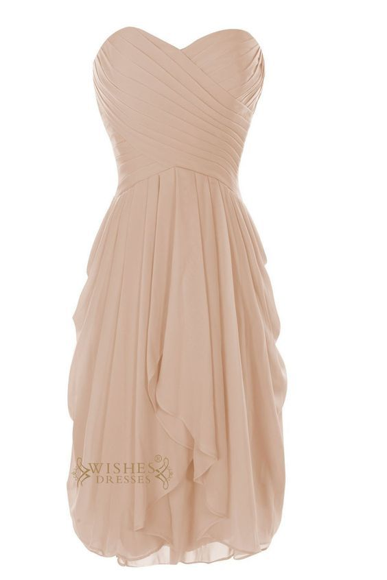 Sweetheart Neckline Coral Bridesmaid Dress With Knee Length Skirt in Chiffon Color Am28