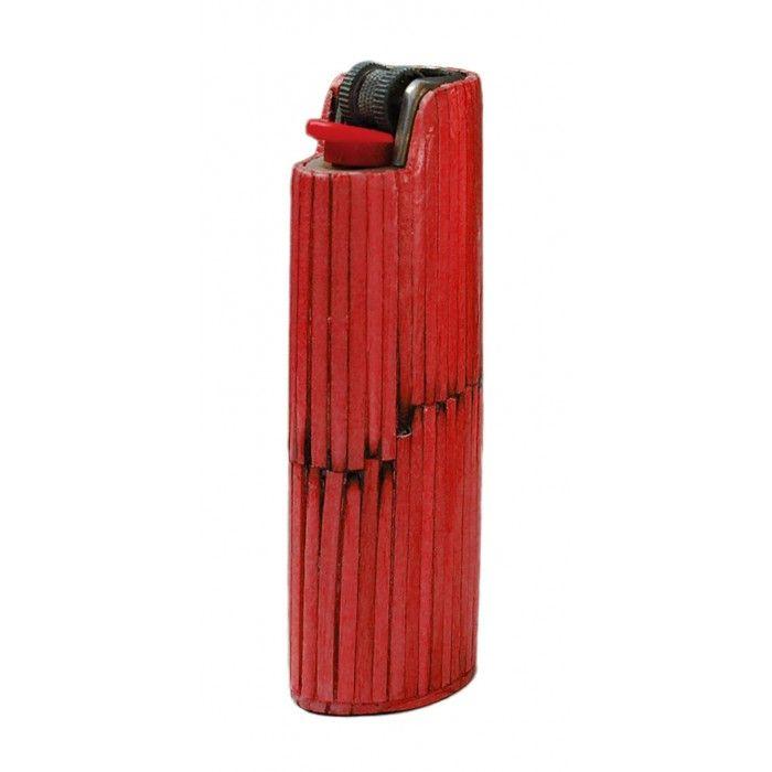 Χειροποίητη κόκκινη θήκη για αναπτήρα BIC   Εφοδιαστική