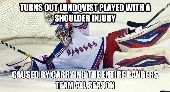 Lundqvist played hurt: ...