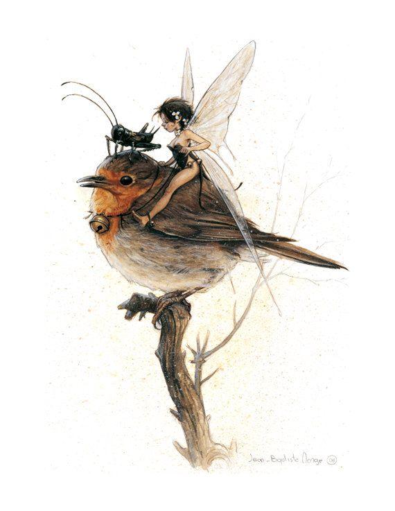 SIGNED Fine Art Print - TINKERBELL on Robin - small. $30,00, via Etsy.