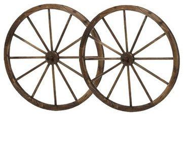 """36"""" Wooden Wagon Wheels - Steel-rimmed Wooden Wagon Wheels, Set of Two $79.26"""