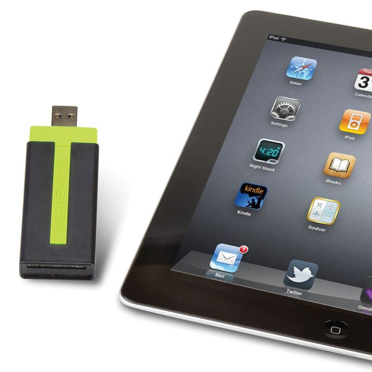 This is the only USB flash drive that wirelessly streams movies, music, photographs, and documents to an iPad. The size of a pack of gum, it accepts an included 8 GB SD card (supports up to 32 GB SD cards) automatically sharing files wirelessly up to 150' away, eliminating an iPad's need to dock with a computer or use e-mail to transfer files.