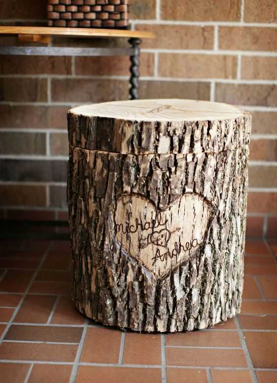 35 Rustic Wedding Card Boxes And Their Alternatives: wooden log turned into a card box with cutouts
