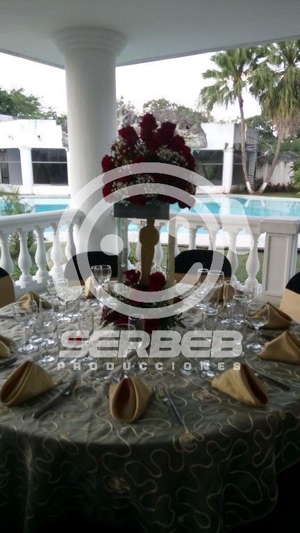 Los centros de mesa se manejaron en flores y una figura Oscar en icopor