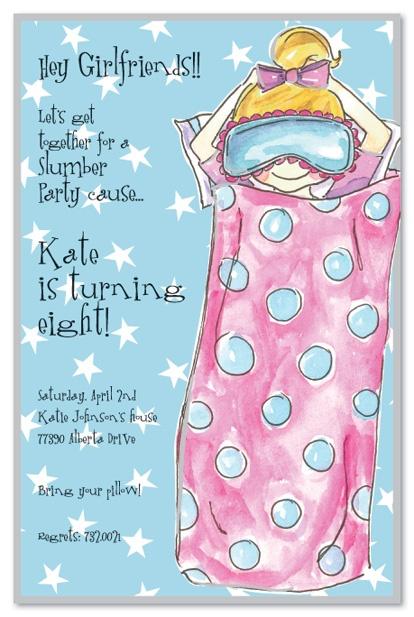 Sleepover Girl Birthday Party Invitations