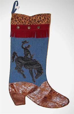 Western Cowboy Boot Christmas Stocking Denim & Cheetah Decoration