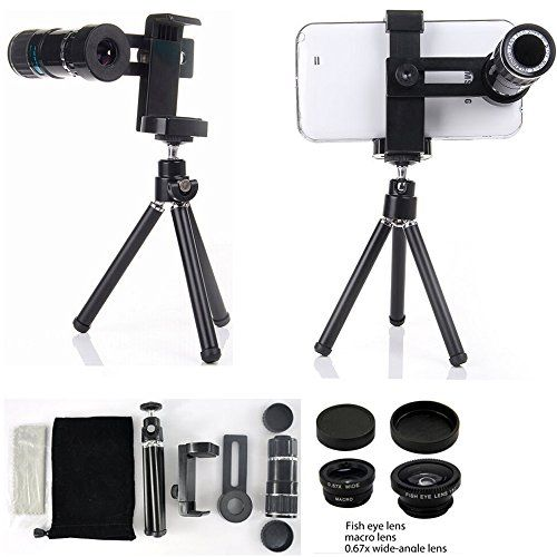 cool Highmantech Universal 4 in 1 Camera Lens Kit Includes 12x Black Telephoto Manual Focus Camera Lens with Tripod / 3 Quick-connect Lens Solution Fisheye Lens / Macro Lens / Wide-angle Lens for Iphone 6 Iphone 5/5s/5c & Samsung Galaxy S5 S4 S3 Note 4 Note 3 Note 2 Alpha & HTC One M8 M7 & Lg G3 G2 & Sony Xperia Z3 Z2 Z1 & Other Mobile Phones  Turn your Mobile Phone into a camera with 12x optical manual zoom in under a minute! Just attach your phone into the case and it's done! Slowly move…