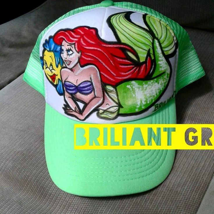 hand painted hat by briliant gr // briliant-hat-project /// hand drawn illustrations on caps by Briliant Gr / every hat is unique / m.facebook.com Briliantpage/ #available #briliantgr #hat #2016  #mermaid #ariel  #muerte #tattoo #art art on hat