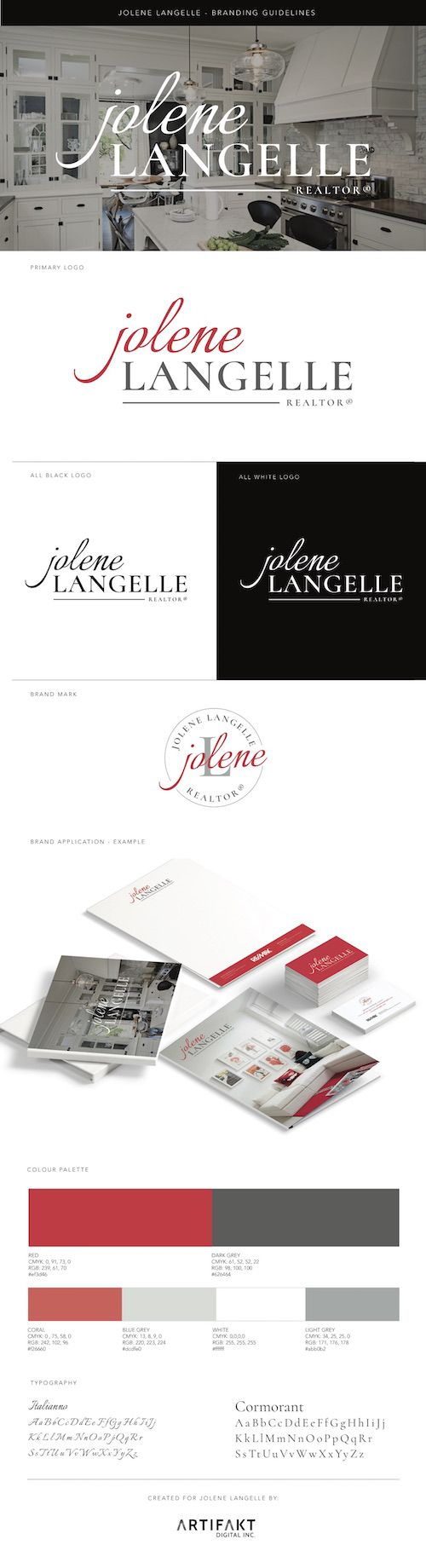 The completed branding guidelines we did for Jolene Langelle; a real estate agent in Edmonton, AB.